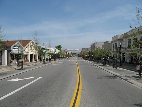 Empty, carfree Castro Street