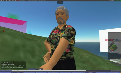 Mitch Kapor gets ready for his talk at the Life 2.0 conference in Second Life