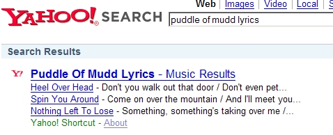 Puddle of Mudd - Lyrics Search (Yahoo!)