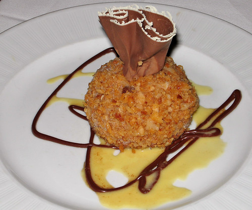 Candied Macadamia Nut-Crusted Espresso Bombe with Dark Chocolate Sauce