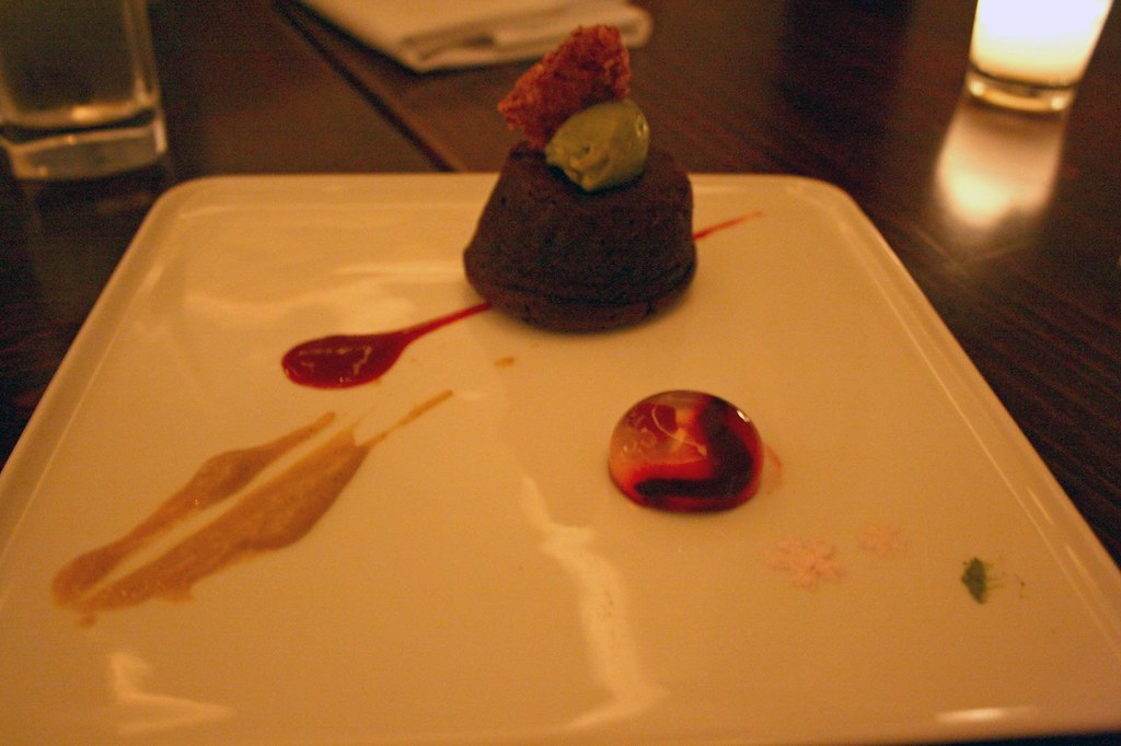 Plate of Warm Chocolate Raspberry Mochi Cake