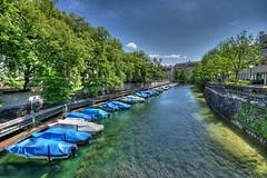 schanzengraben (Toni_V) Tags: blue green topv111 d50 boats schweiz switzerland europe zurich zürich hdr sigma1020mm photomatix 3exp schanzengraben toniv ©toniv