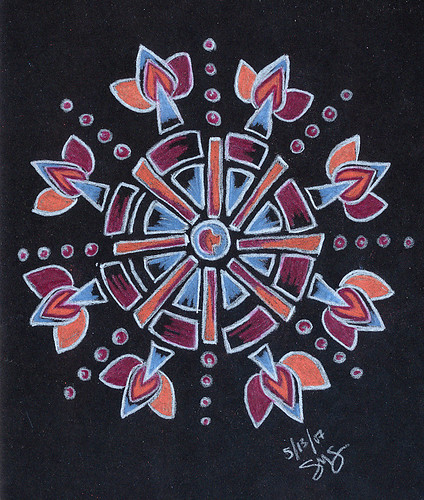 051307 Prismacolor Mandala on Black inspired by Blue Sea Art