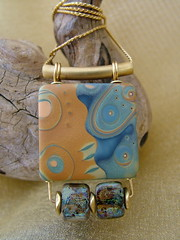 Tidepool - Mokume Gane & Glass Bead Pendant (julie_picarello) Tags: julie jewelry polymerclay clay polymer gane mokume picarello yellowhousedesigns