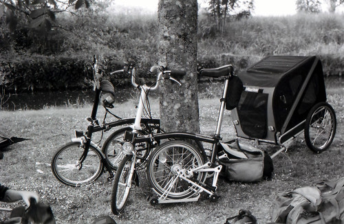 Brompton folding bikes – complete with dog trailer – on a cycle camping tour of the Loire. Photo: Nicole Wilkins