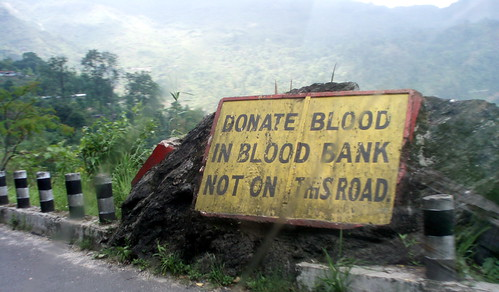 Donate blood in blood blank, not on this road