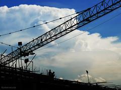 sky construct (jobarracuda) Tags: sky clouds lumix construction crane silhouettes fz50 panasoniclumix dmcfz50 jobarracuda