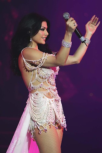 Sexy Arab Singer Haifa Wehbe performs on stage