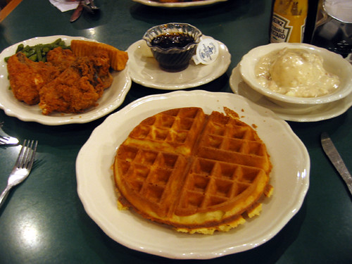 The best of all worlds: fried chicken, waffles, syrup, mashed potatoes and