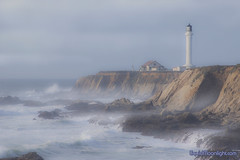 Misty Afternoon at the Lighthouse - Point Arena Lighthouse (Darvin Atkeson) Tags: ocean california cliff usa lighthouse mist beach america landscape coast us pacific mendocino  costal pointarena         liquidmoonlightcom goldendiamondblog