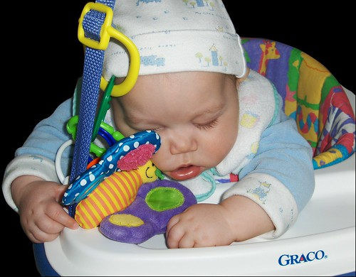 Asleep in the bouncer