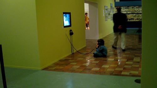 Boy in museum.