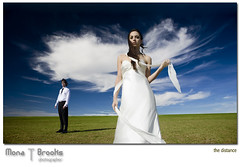 The distance (SFMONA) Tags: wedding field fashion clouds groom bride couple meadow bluesky bayarea concept ideal gown conceptual southbay grassy manandwoman abigfave backyardseries platinumsuperstar