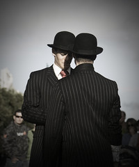 Two English Gents (|neurosis|) Tags: english canon magritte streetperformer fremantle bowler gents pinstripe globalvillage fremantlestreetartsfestival globalcity gvadminshalloffame itsabeautifulgv