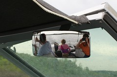 family in the rearview