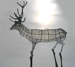 wire and paper sculpture papercraft: Stag on Ice