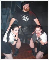 peeking (utilikilts) Tags: black leather tattoo gnome women vampire horns peeking upkilt preservermerge utliikilts