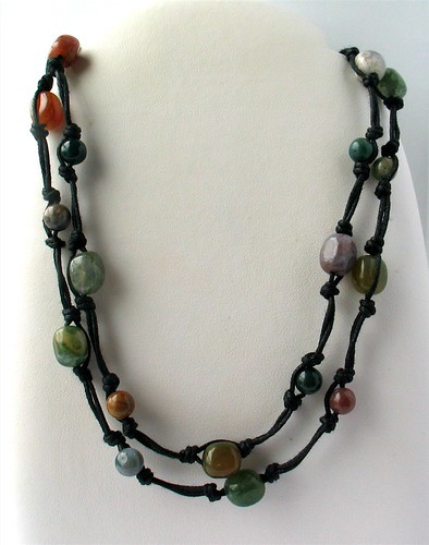 Knotted fancy jasper necklace
