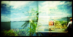Today (Ralph Krawczyk Jr) Tags: 6x6 water mediumformat hawaii xpro crossprocessed women rocks oahu horizon toycamera navy palmtree pearlharbor honolulu blueskies information multipleexposures holga120n ussarizonamemorial quadrupleexposure goteamholga ralphkrawczykjr presentday