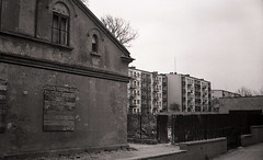 yashicaAPX 04-2007 69 (eastendimages) Tags: street city travel urban bw building monochrome architecture town spring poland rangefinder journey casual lask agfaapx100 yashicaelectro35gt coloryashinondx45mmf17 agfaapxiso100