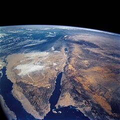 Released to Public: Sinai Penninsula and Dead Sea from Space Shuttle Columbia, March 2002 (NASA) - by pingnews.com