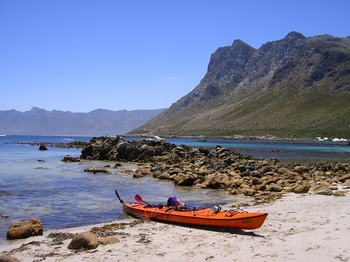 Rooiels beach - about halfway. We estimate that we paddled 40+ kms in total. It took us about 5 hours.