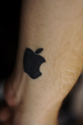 Apple logo tattoo. Inner left wrist. Rock Star!