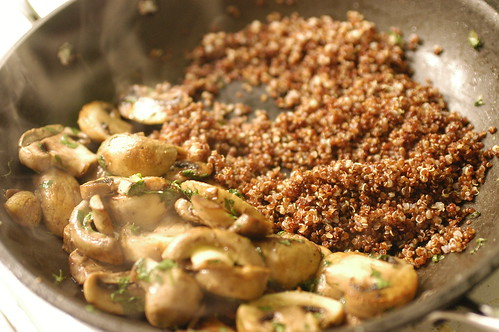 sauteed mushrooms and quinoa