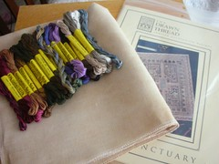 Drawn Thread Sanctuary with silks and fabric