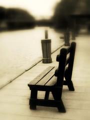 The lonely black bench (Eila Mahima) Tags: sepia blackwhite words poetry poem rochester locks lonely tones eriecanal poetryandpicturesinternational superaplus aplusphoto tribesandhya