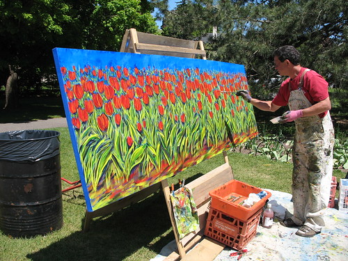 Painting the tulips