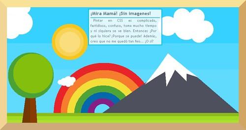Un cuadro dibujado usando sólo código XHTML y CSS