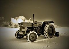Virgin Snow, Dirty Old Tractor. (windywolf) Tags: sky snow tractor field clouds scotland orkney farm samsung orphir mywinners platinumphoto aplusphoto theunforgettablepictures windywolf gx10virginsnowdirtytractor