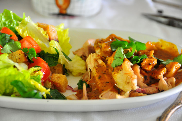 chicken with chipotle and ancho peppers with salad