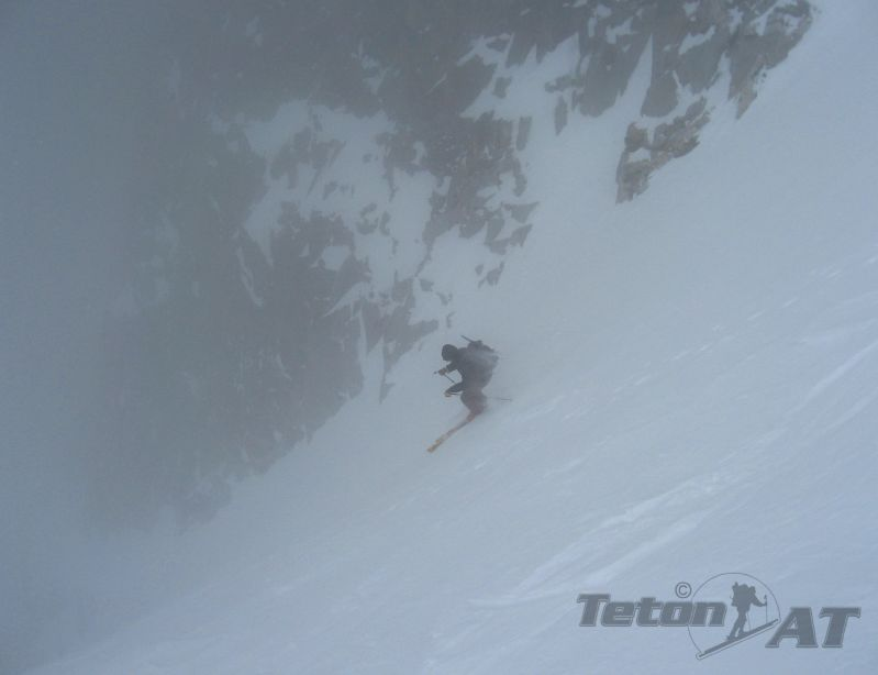 Skiing into the storm