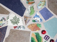 Mosaic table close-up