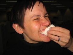 Kristin eats a gourmet peep