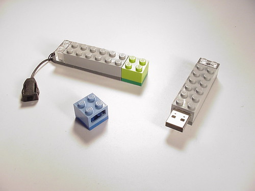Two USB thumb drives in Lego casings.