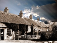 Wrea Green in Sepia and Blue (Ron in Blackpool) Tags: old blue sky cloud sepia manipulated village cottage lancashire ron curtis wreagreen gbstron roninblackpool roncurtis