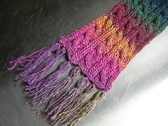Aurora scarf detail (pre-blocking)