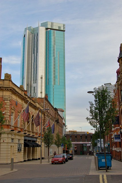 Beetham Tower, viewed from John Bright Street, Birmingham. First 20 floors is the 5 Star Radisson SAS Hotel, floors 21-39 city apartments. Spearmint Rhino 2011