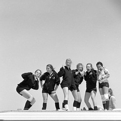 Girls (efo) Tags: girls bw cute team posing volleyball om4 classicblackandwhite anawesomeshot onacamperroof