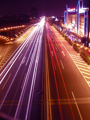 CHINA - Shanghai - Night view (Franck -  - ) Tags: china road blue light red urban motion color colour cars car night movement asia stream view shanghai traffic illuminations  elevated       brilliant              helluva         colorphotoaward