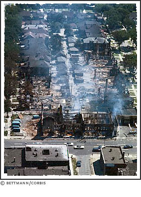 An aerial view on Linwood during the July 1967 Rebellion in Detroit. by Pan-African News Wire File Photos