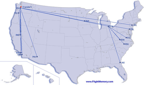 Map of my airtravel in summer 2005