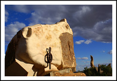 Mmm...Looks Like Rain (fotofantasea) Tags: travel blue light shadow sky horse orange plants brown white storm abstract green metal closeup clouds composition mouth landscape nose grey artwork eyes flora rocks angle perspective statues australia roadtrip frame newsouthwales outback sculptures brokenhill colorphotoaward sculpturesymposium auselite