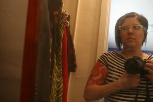 messy closet, dirty mirror