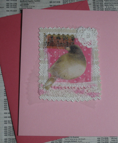 pink bird card