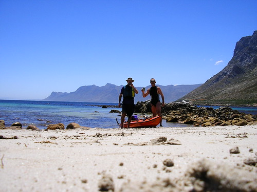 Rooiels beach - time for a beer. We would need all that energy despite the apparent tranquillity in the background.