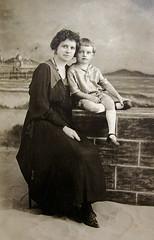 vintage portrait of my great-grandma and my grandpa (freeparking :-|) Tags: arizona portrait vintage studio globe grandfather greatgrandmother blackdress